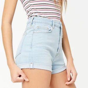 Rolled Raw-Cut Denim Shorts